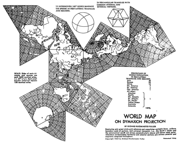 Buckminster Fuller, Dymaxion Map, 1943