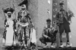 Férfi és nő arcfestéssel, Dél-Afrika, 1930, illetve a Cassetteplaya modellje, 2011-12, fotó: Alis Pelleschi
